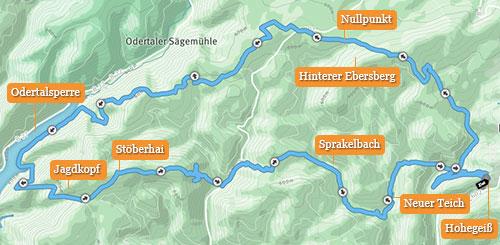 Grafik: 30-km-Strecke von Hohegeiß zur Odertalsperre und zurück