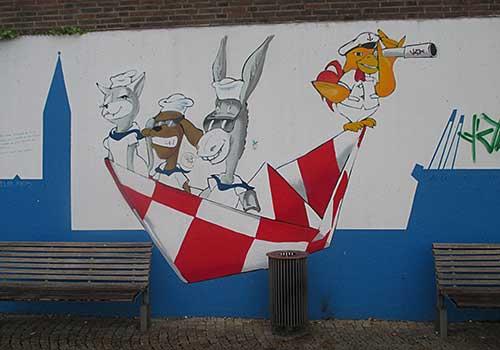 Die vier Bremer Stadtmusikanten als Wandmalerei