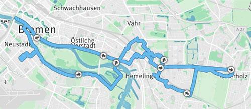Laufstrecke Bremen 32 km