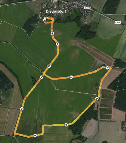 Strecke Diedersdorfer Schloss-Wiesen-Lauf 2015