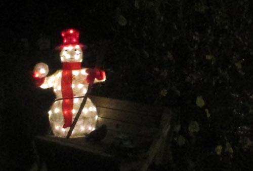 Leuchtender Weihnachtsmann in einem Garten
