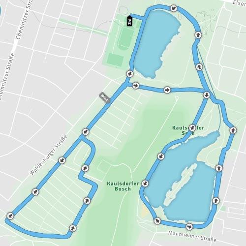 Strecken-Grafik Crosslauf Rund um die Kaulsdorfer Seen