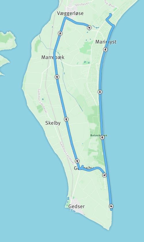 Karte mit der Laufstrecke