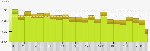 Pace-Grafik Regensburg-Halbmarathon 2016