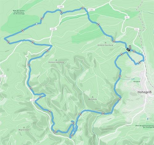 Die 20-km-Strecke im Harz bei Hohegeiß