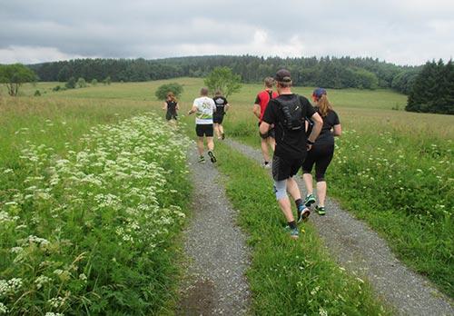 Laufen über Wiesen und Felder