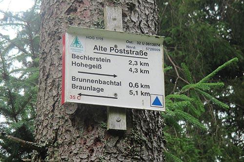 Schild mit Entfernungen der nächsten Orte