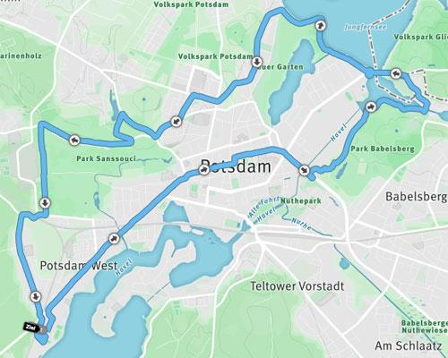 Strecke des Potsdamer Schlösserlauf Halbmarathons 2016