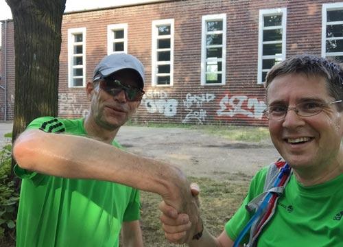 Test für die Staffel-Übergabe am Wechselpunkt in Teltow