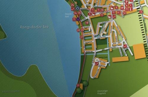Lageplan von Rangsdorf auf einem Schild