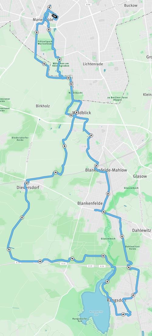 Strecke langer Lauf nach Rangsdorf