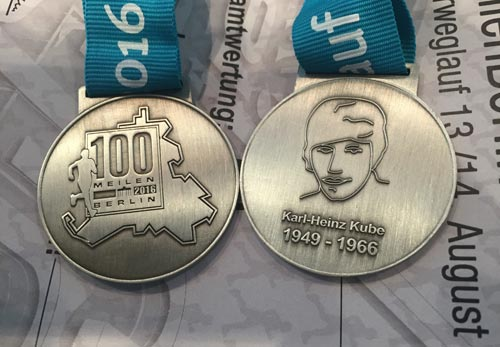 Medaille 100 Meilen Berlin 2016 mit Karl-Heinz Kube