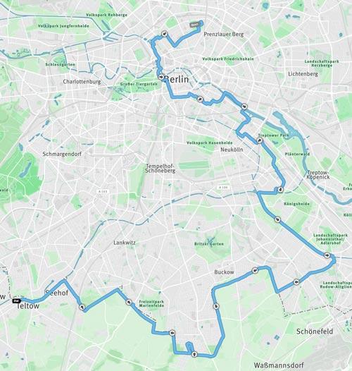 Karte der 59-km-Etappe der 100 Meilen Berlin 2016