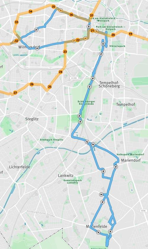 Laufstrecke Marathon neben dem Berlin-Marathon