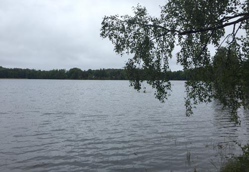 Erster Blick auf den See Rydbosjön