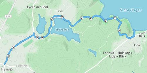 Karte mit Laufstrecke im Färgensjöarnas Naturreservat – von Bäck nach Hemsjö und zurück