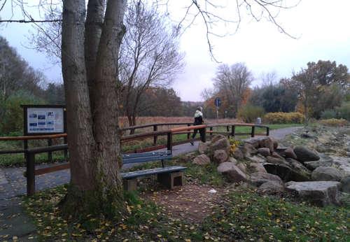 Läuferin auf Holzbrücke
