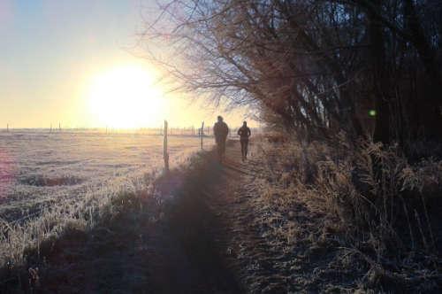 Läufer vor einem Sonnenaufgang