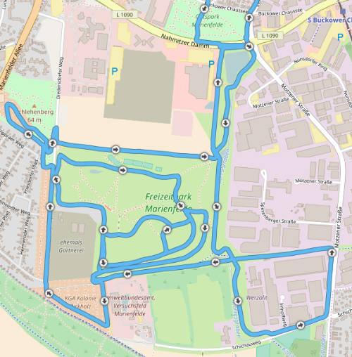 Strecke Lauf-Schnitzeljagd