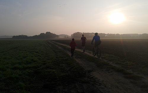 Zwischen Feldern laufen