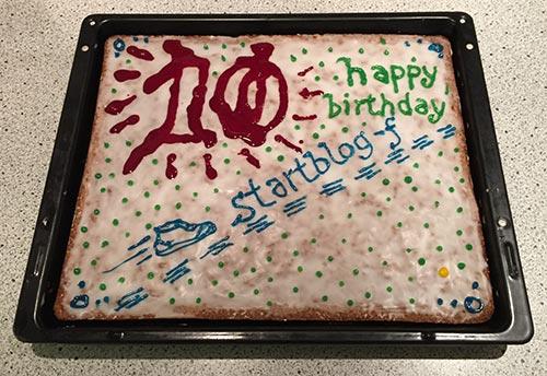 Der startblog-f-Geburtstagskuchen zum 10. Geburtstag