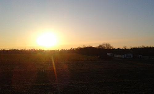 Winter-Sonnenaufgang in Birkholz