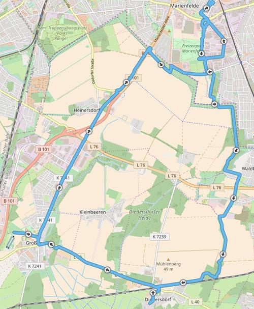Strecke: Langer Lauf von Marienfelde über Diedersdorf nach Großbeeren und zurück