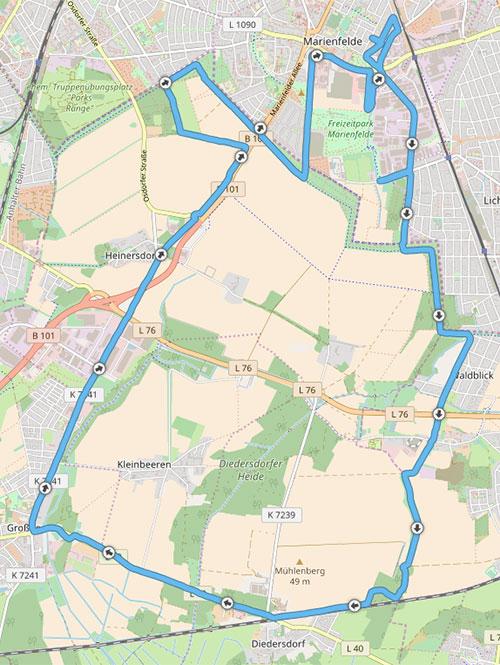 Karte mit 30-km-Laufstrecke