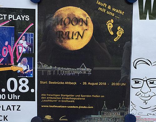 Plakat für den Moon Run 2018 in Ahlbeck auf Usedom