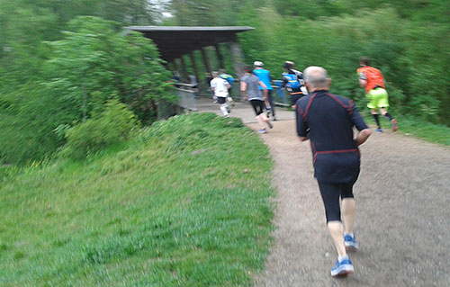 Läuferinnen und Läufer an der Nuthebrücke