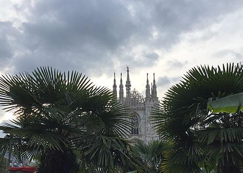 Mailänder Dom ragt zwischen Palmen hervor