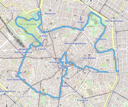 Karte mit der Strecke des Mailand Sightseeing-Laufs
