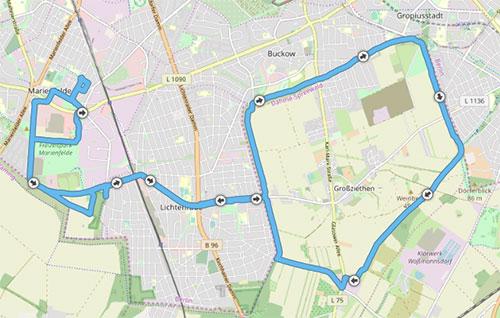 Grafik mit Laufstrecke von Marienfelde auf dem Mauerweg bis Gropiusstadt, Dörferblick und zurück
