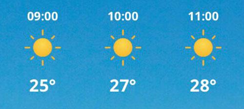 Wetterdaten für die Halbmarathon-Zeitspanne: 9 Uhr 25 Grad, 10 Uhr 27 Grad, 11 Uhr 28 Grad