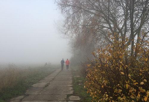 Läufer im Nebel