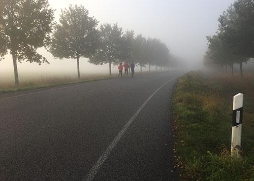 Läufer im Nebel auf dem Weg nach Friederikenhof