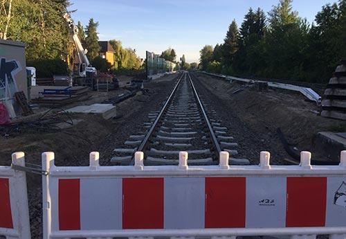 Blick auf das Gleis Richtung Norden