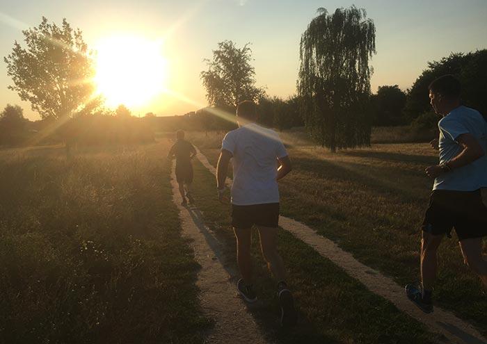 Läufer auf Feldweg vor der aufgehenden Sonne