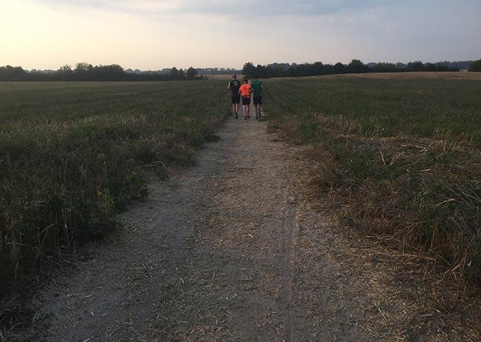 Läufer auf breitem Feldweg