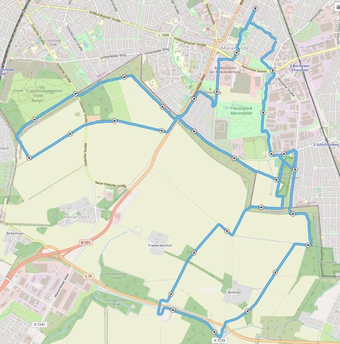 Karte mit der Strecke der zwei Runden