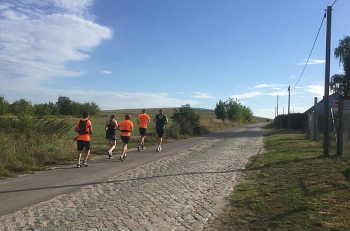 Läufer-Gruppe und Erhebung im Hintergrund