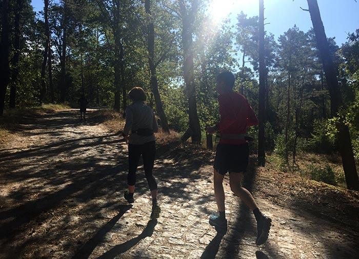 Läuferin und Läufer im Gegenlicht der Sonne, die durch die Bäume strahlt