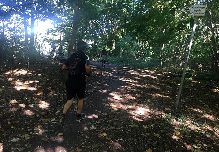 Läufer und Läuferin auf Waldweg mit Lichtsprenkeln
