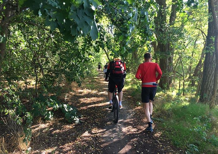 Läufer und Radbegleiter auf schmalem Waldpfad