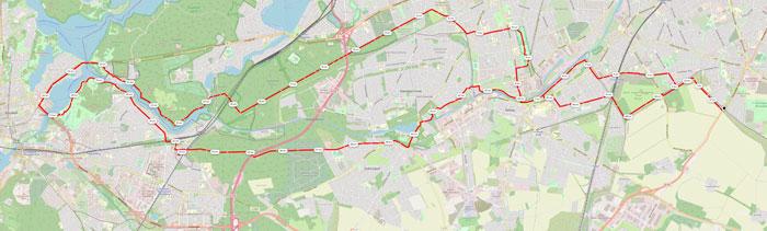 Streckenplan des Ultralaufs von Marienfelde nach Potsdam und zurück