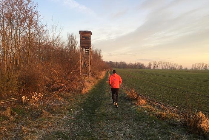 Läufer neben einem Holzturm zur Wildtierbeobachtung