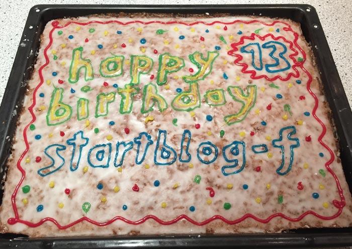 13 – happy birthday startblog-f – Geburtstagskuchen