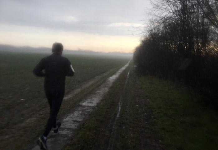 Pfad am Feld bei Mahlow im Regen