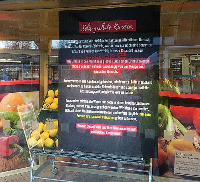Corona-Hinweise Lebensmittel-Supermarkt