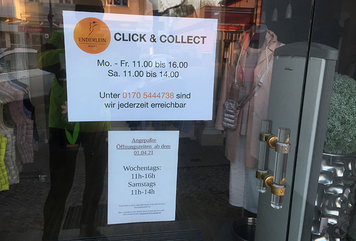 "Hinweis ""Click & Collect"" an Boutique"